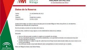 Reserva de viaje de pruebas en Metro Málaga