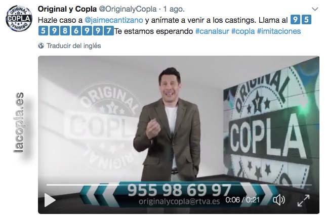 Twitter de Original y Copla con Jaime Cantizano anunciando el nuevo programa de Canal Sur